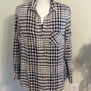 ❤️UC MERONA Large Cotton blk/what plaid L/S shirt